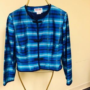 Maggie London Raw Silk Blue Plaid Jacket size 10